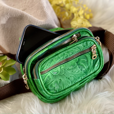 HANDMADE EMBOSSED ORCHIDS SUSTAINABLE LEATHER FANNY PACK • BIRTHDAY GIFTS FOR HER