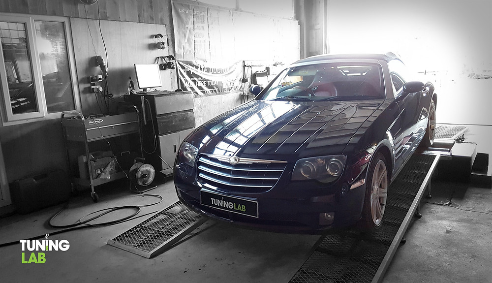 Chrysler Crossfire 3.2 V6 on the dyno after a Tuning Lab Custom Remap