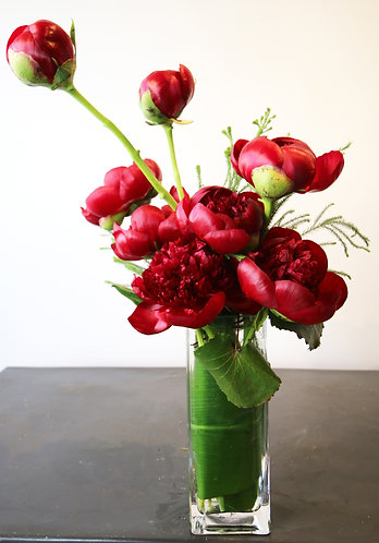 Imported Peony's in Glass Vase