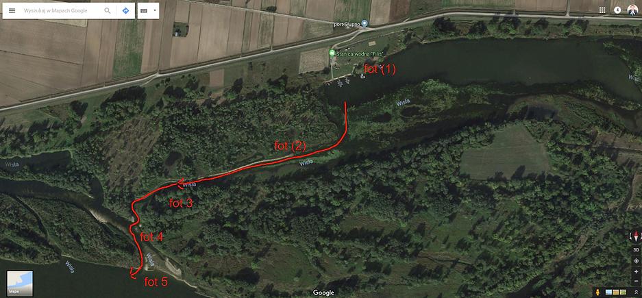 Mapka wyjścia ze stanicy wodnej flis na Wisłę | Płock, mazowieckie, Wisła, Jezioro Włocławskie.