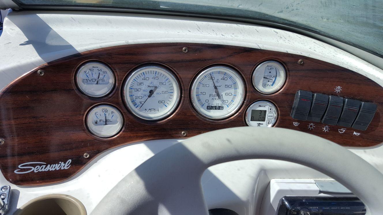 Tablica zegarów w kokpicie motorowki.