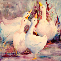 Five White Geese