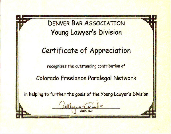 Denver Bar Assn Certificate