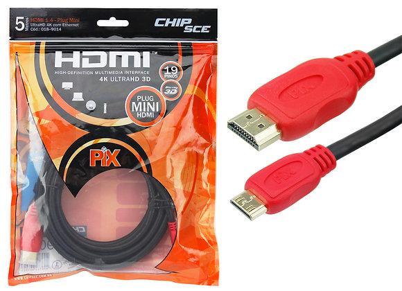 Mini HDMI x HDMI 1.4 4K UltraHD 19 Pinos - 5m