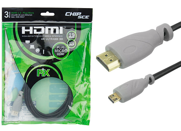 Micro HDMI x HDMI 1.4 4K UltraHD 19 Pinos - 3m