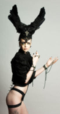 Gothic Goddess with Avante Garde Make-up. Headpiece made by Portraits in Wonderland.