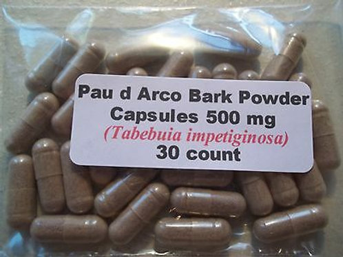 Organic Pau D' Arco Bark  CAPSULES X 30 *545mg Surprised Mix with herbs