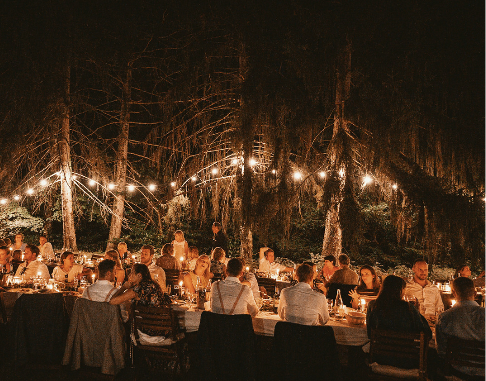 Majestic 19th century château in the South-west - fairy lit dining