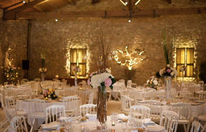 Historical Armagnac Castle indoor dining hall