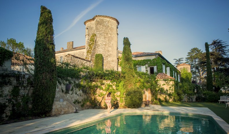 Historical Armagnac Castle swimming pool