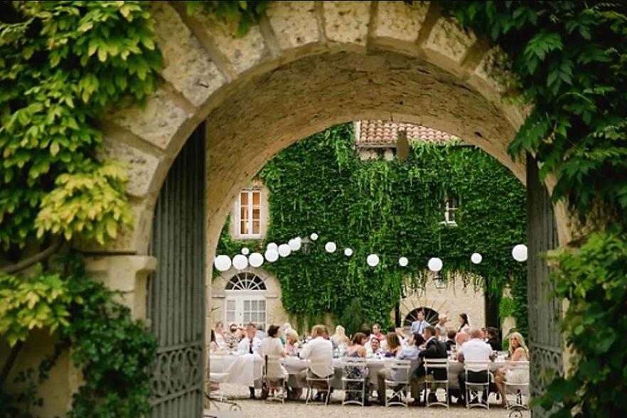 Historical Armagnac Castle courtyard wedding