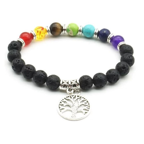 Tree of Life 7 Chakra Healing Balance Essential Oil Large Medallion Bracelet