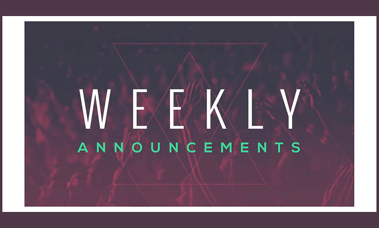 Announcements for the week of March 30