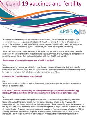 SARS-CoV2, εμβολιασμός και γονιμότητα