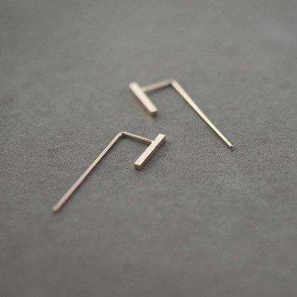 Minimalistic Rose Gold Slim Bar Earrings