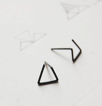 Les Géométriques Black Stud Earrings