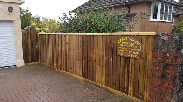Feather edge fencing, Hartley, Plymouth.
