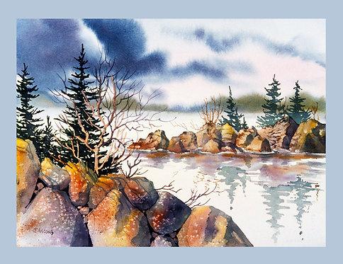 """Rocky Shore"" Fabric Art Panel"
