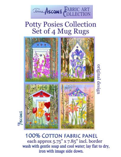 Potty Posies-4 Fabric Art Coasters