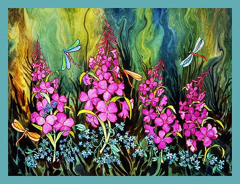 """Fireweed & Dragonflies"" GRANDE Fabric Art Panel"