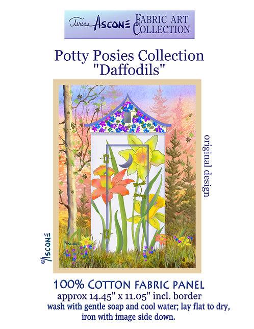 Potty Posies-Daffodil Fabric Art Panel