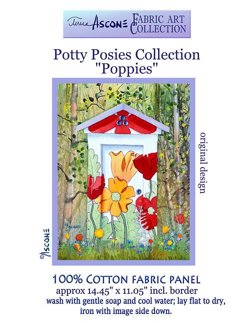 Potty Posies-Poppy Fabric Art Panel