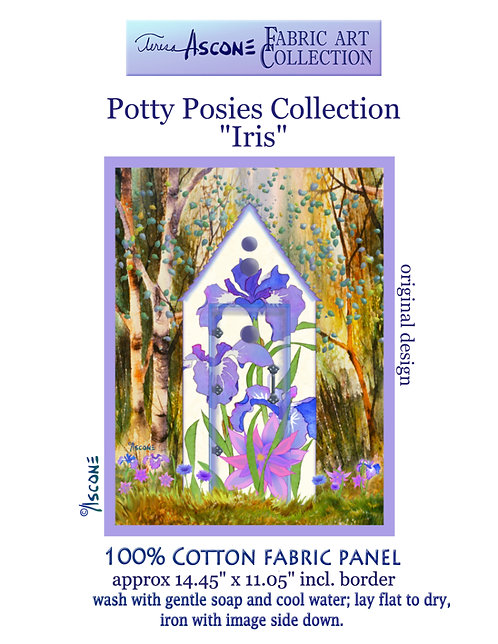 Potty Posies-Iris Fabric Art panel