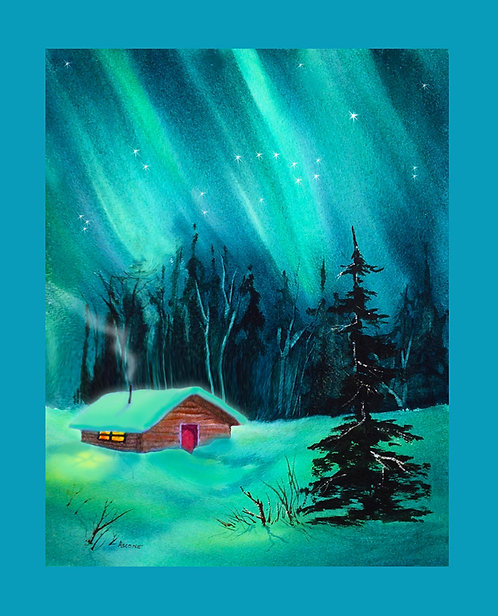 """Cozy Cabin"" Fabric Art Panel"