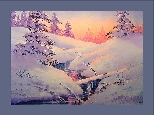 """Winter Sun"" Fabric Art Panel"