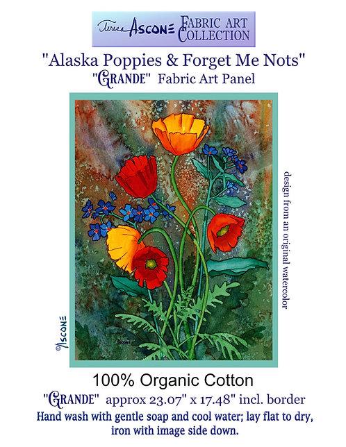 "GRANDE ""Alaska Poppies & Forget Me Nots"" Fabric Art Panel"