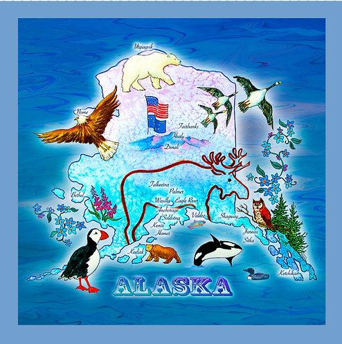 """Alaska, The Great Land Map"" Fabric Art Panel"