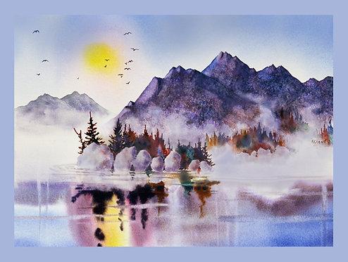 """Rocky Mountain Vista"" Fabric Art Panel"