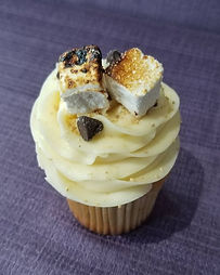 s'mores cupcake with homemade roasted ma