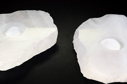 """Clear Quartz Flat Candle Holder 5"""""""
