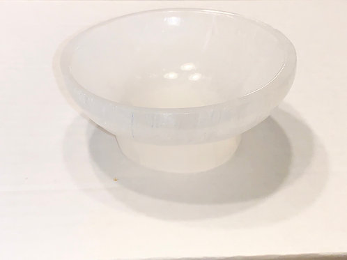 "Selenite Bowl with base 3.5""-4"""