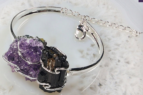 Raw Black Toumaline and Amethyst Bracelet
