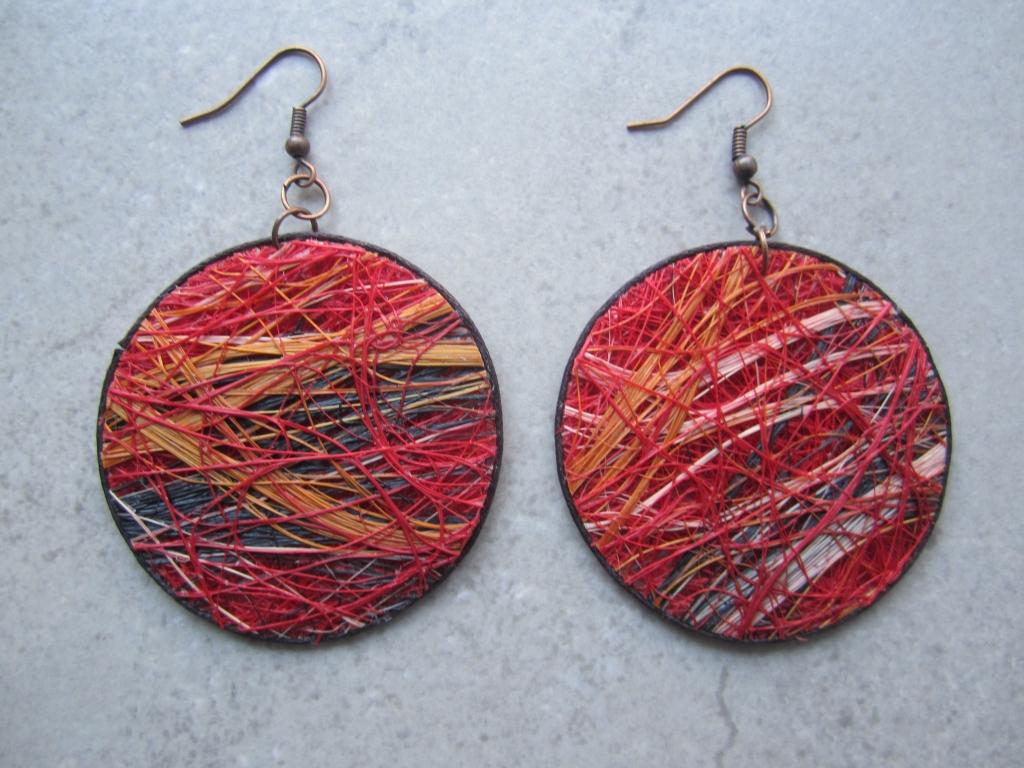 Red Fique Earrings by Belart
