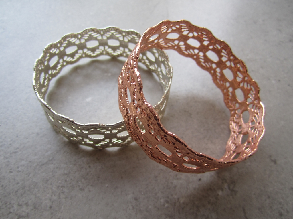 Gold, Copper Vintage Lace Bracelets