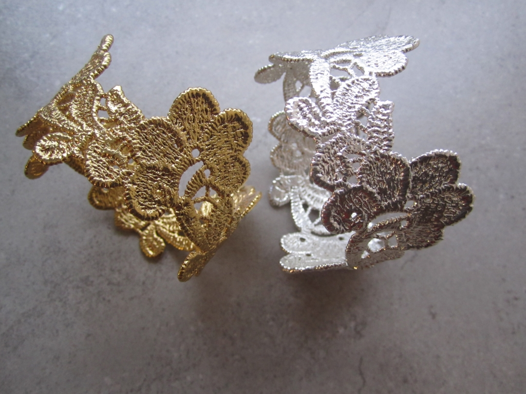 Gold and Silver Vintage Lace Rings