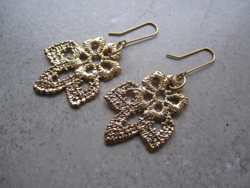 Vintage Lace Earrings in Gold