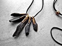 Gold Black Necklace by Aleja Desi