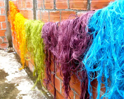 colored wool for fair trade baskets