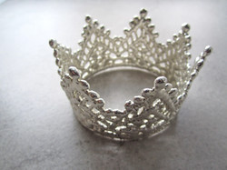 Vintage Lace Wedding Crown in White