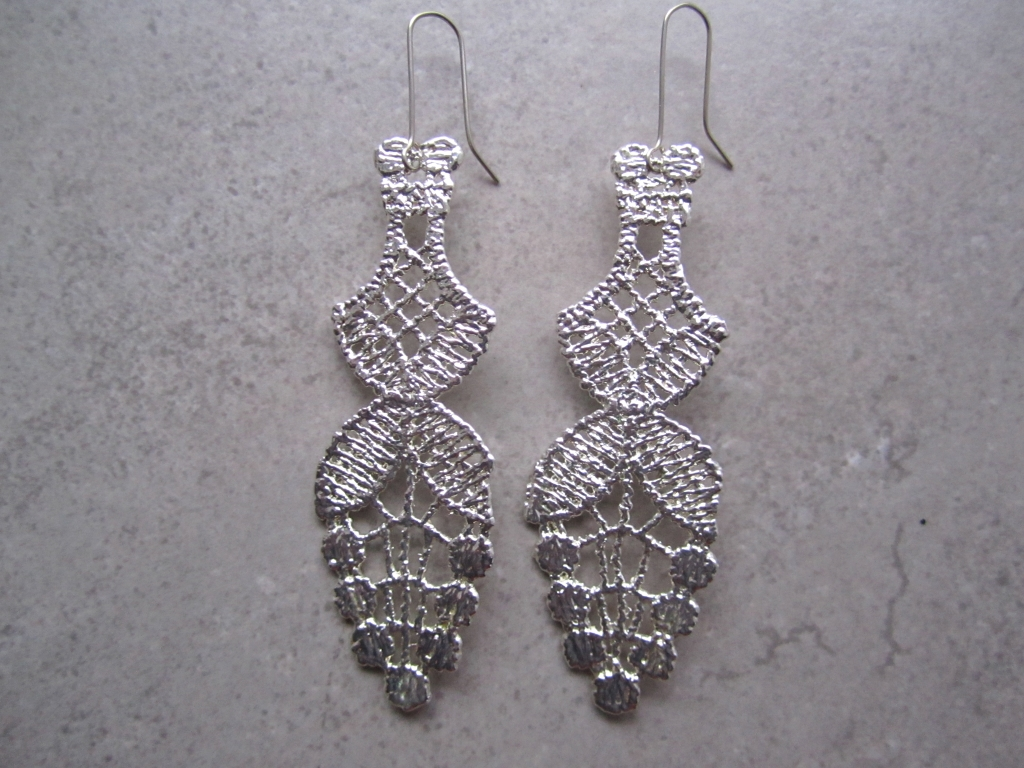 Silver Vintage Lace Earrings