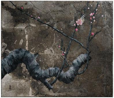 謝淑慧 SHEH Shu Hui 初綻 First Bloom 銀箔、礦物顏料、 染色棉紙 45.5*53cm 2017 年