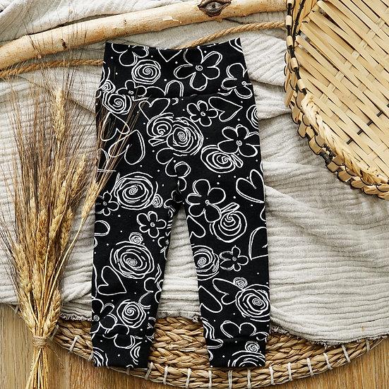 Leggings, leggings schwarz mit blumen, babyleggings