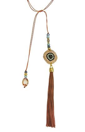 Goddess Eye Rope Tassel Lariat - Cognac
