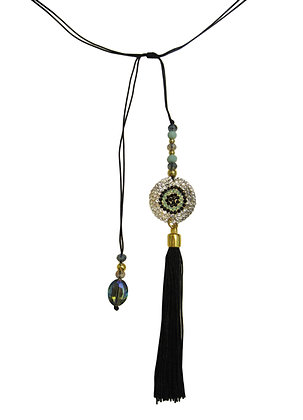 Goddess Eye Rope Tassel Lariat - Black