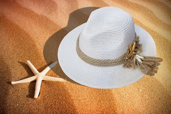 White Straw Bogart Traveler Style Hat