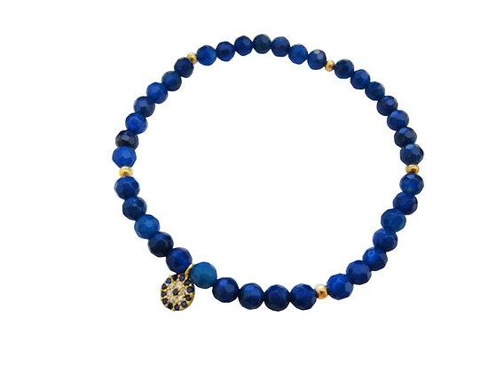 Blue Crystal, Sterling Silver Bracelet